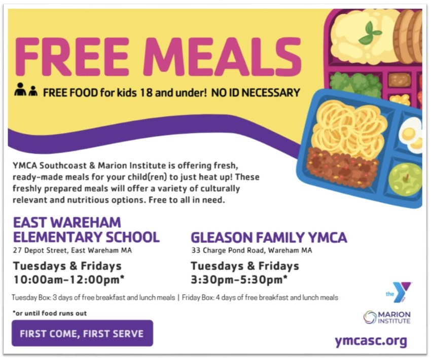Free Meals for kids 18 & under on Tuesdays & Fridays, see flyer below for details.