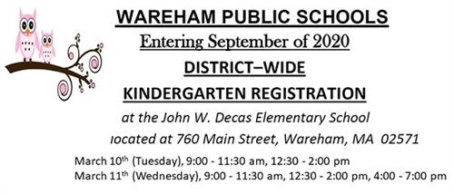 Kindergarten Registration Information for September 2020