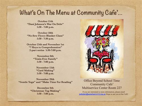 Upcoming Community Cafe Schedule and Information